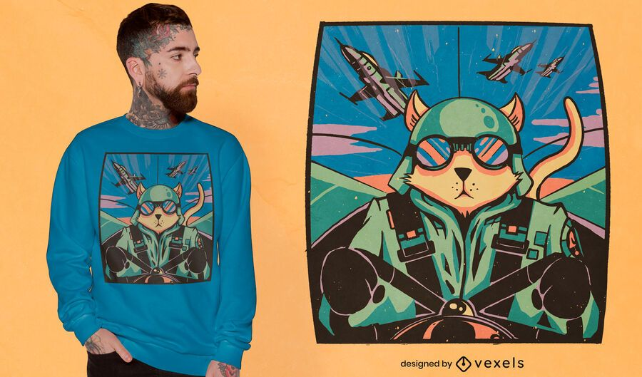 Cat pilot t-shirt design