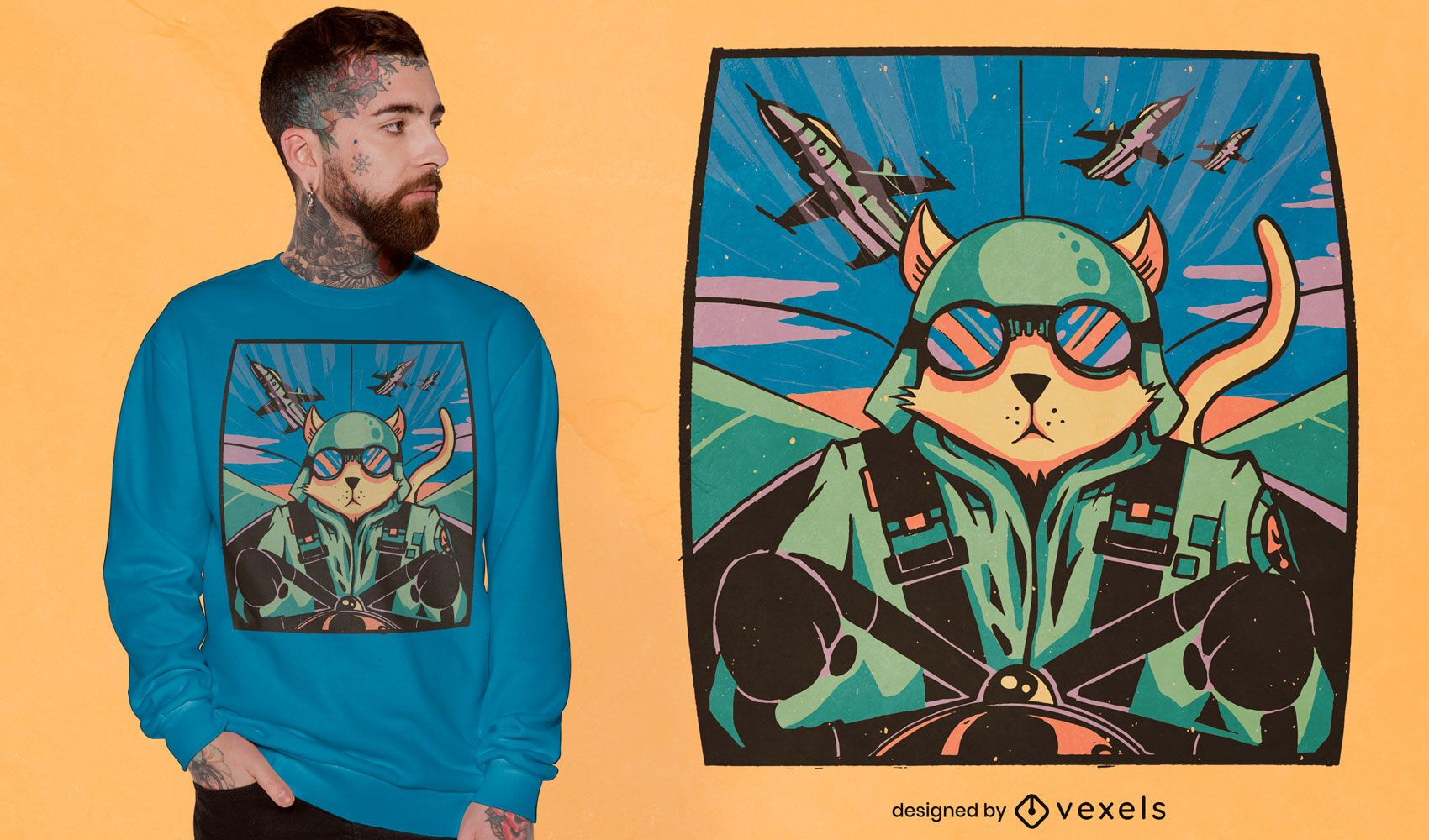 Dise?o de camiseta de piloto de gato.