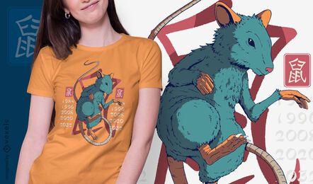 Diseño de camiseta año de la rata.