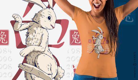 Diseño de camiseta año del conejo.