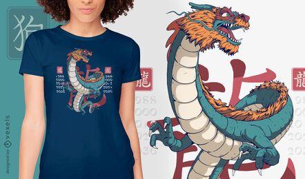 Design da camiseta do ano do dragão