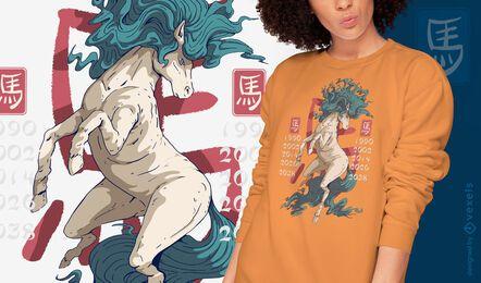Diseño de camiseta año del caballo.