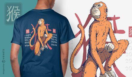 Design de t-shirt do ano do macaco