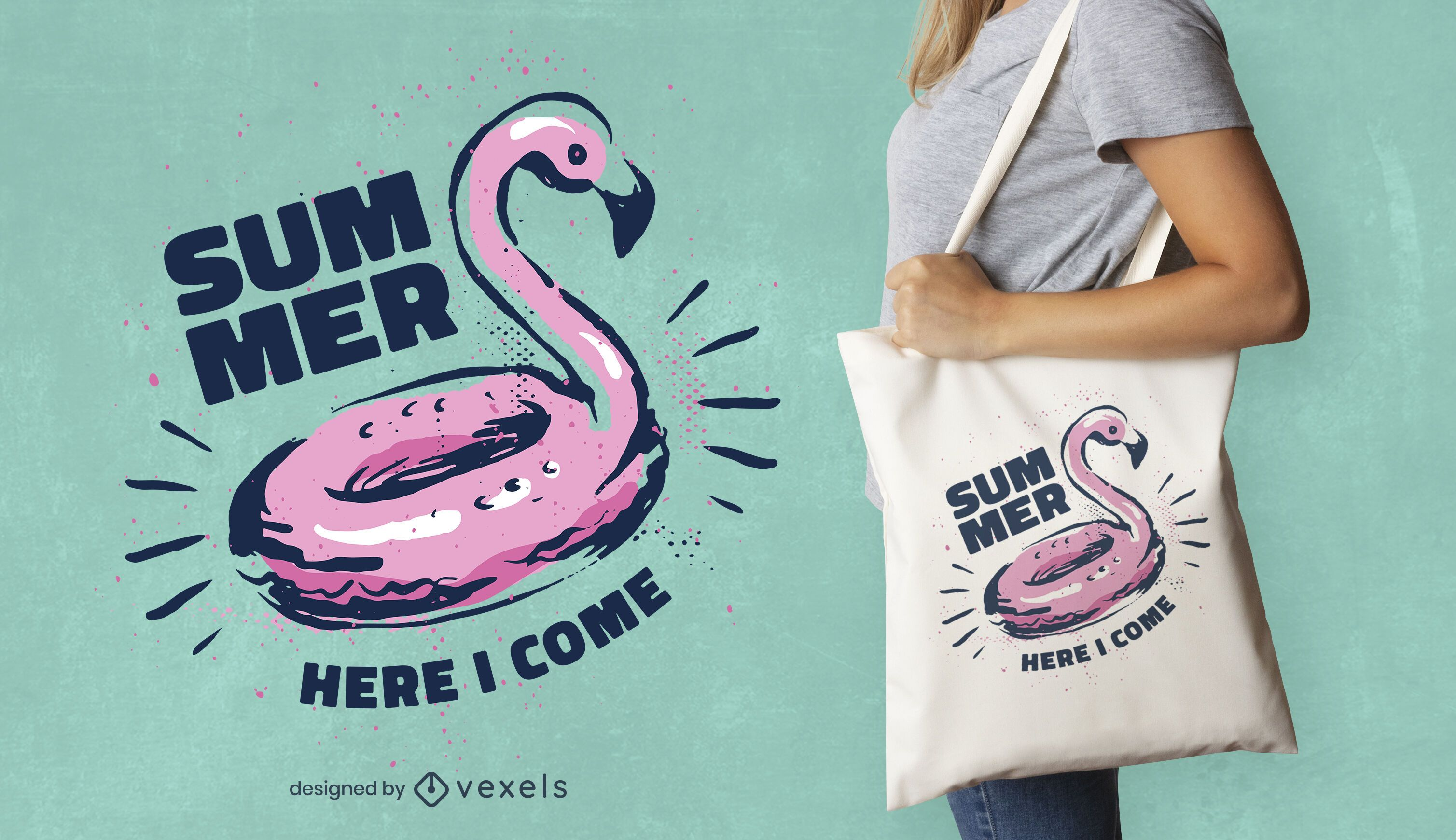 Flamingo summer tote bag design