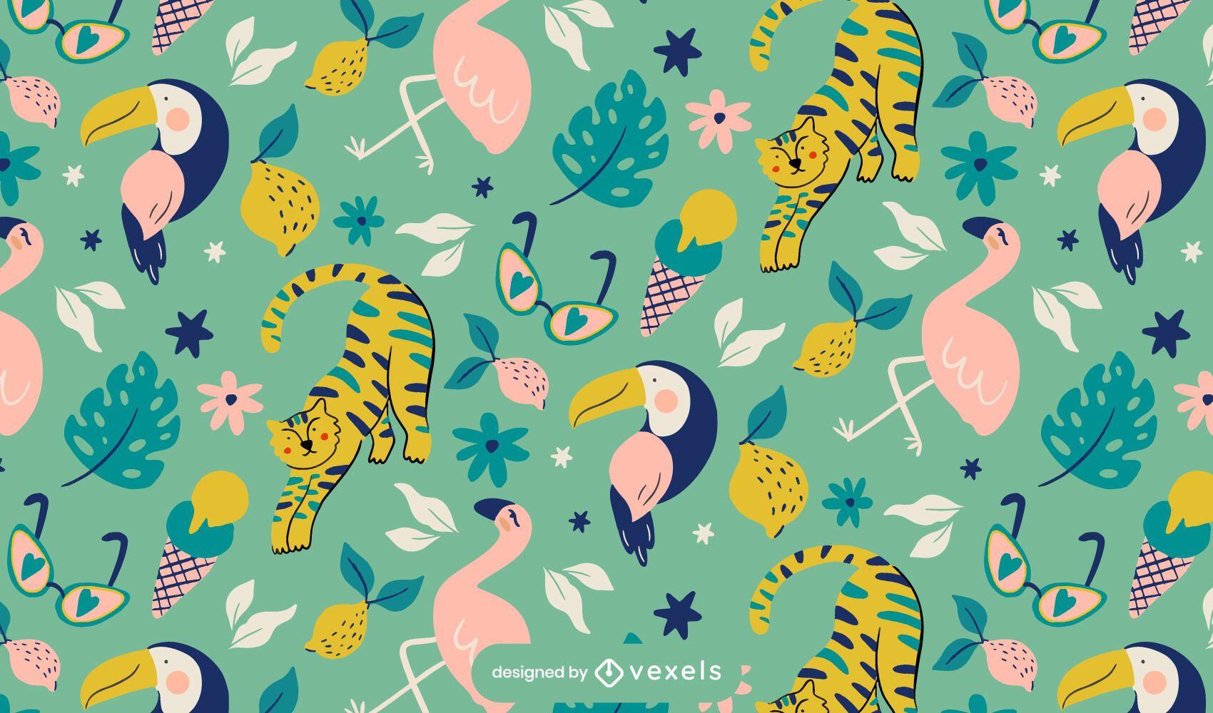Diseño de patrón tropical