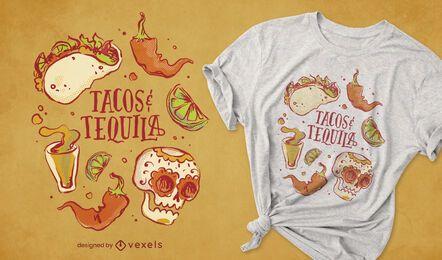 Diseño de camiseta de tacos y tequila.