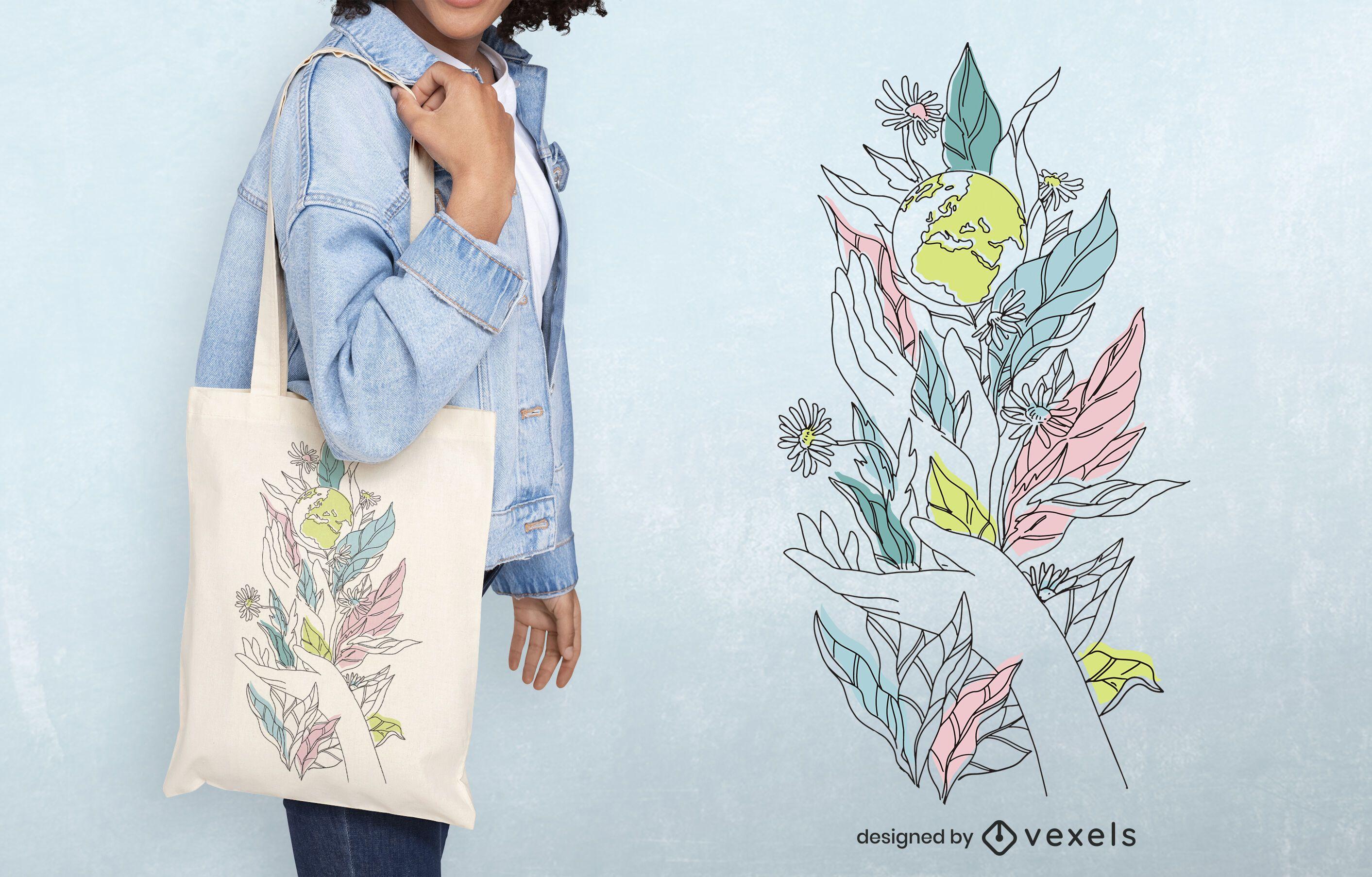 Earth day tote bag design