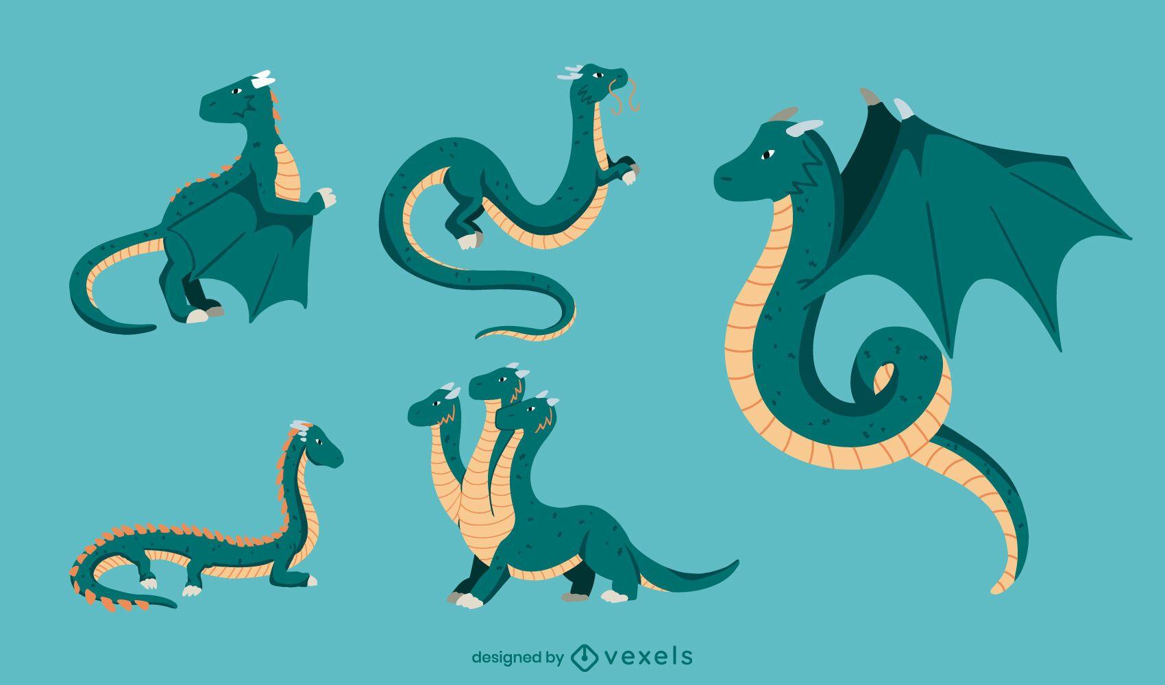 Conjunto plano de dragón