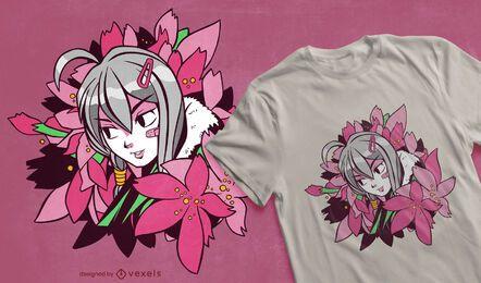 Diseño de camiseta de anime girl flowers.