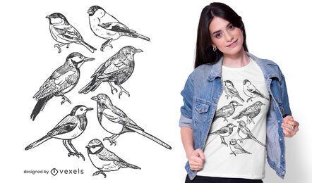 Diseño de camiseta de pájaros dibujados a mano.