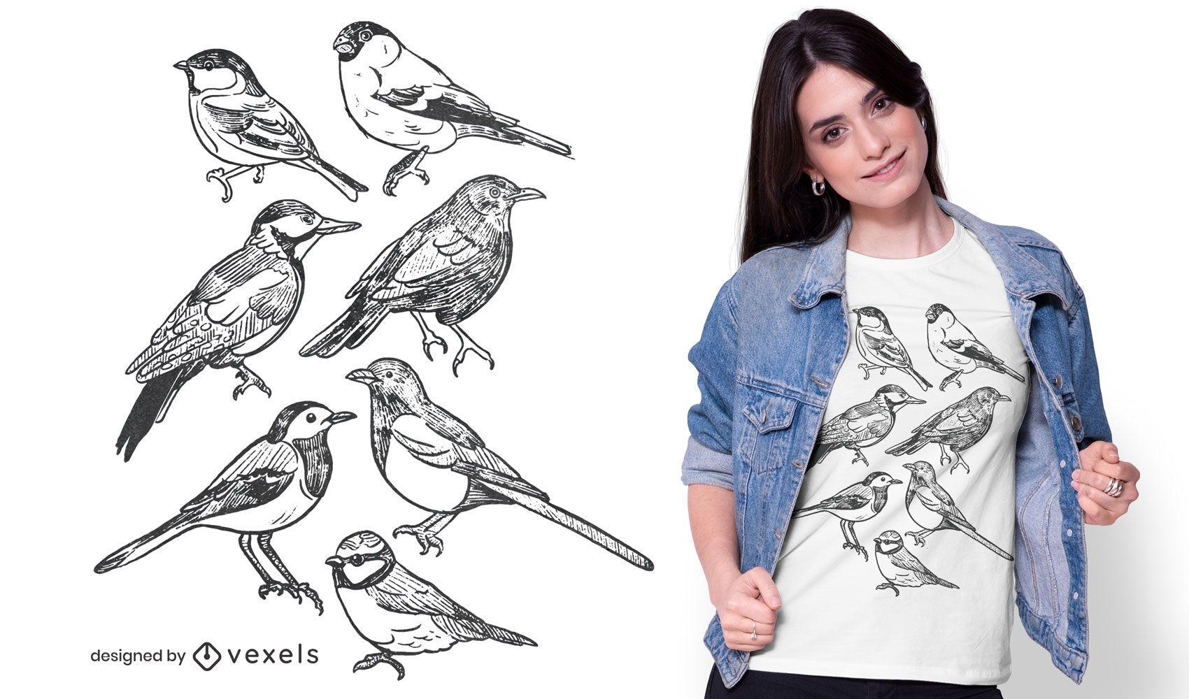 Birds hand-drawn t-shirt design