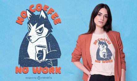 Design de camiseta com café husky