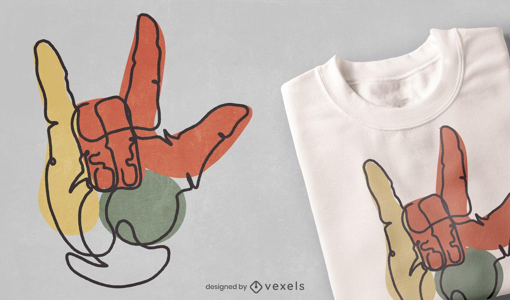 Diseño de camiseta de línea continua de gesto de amor.