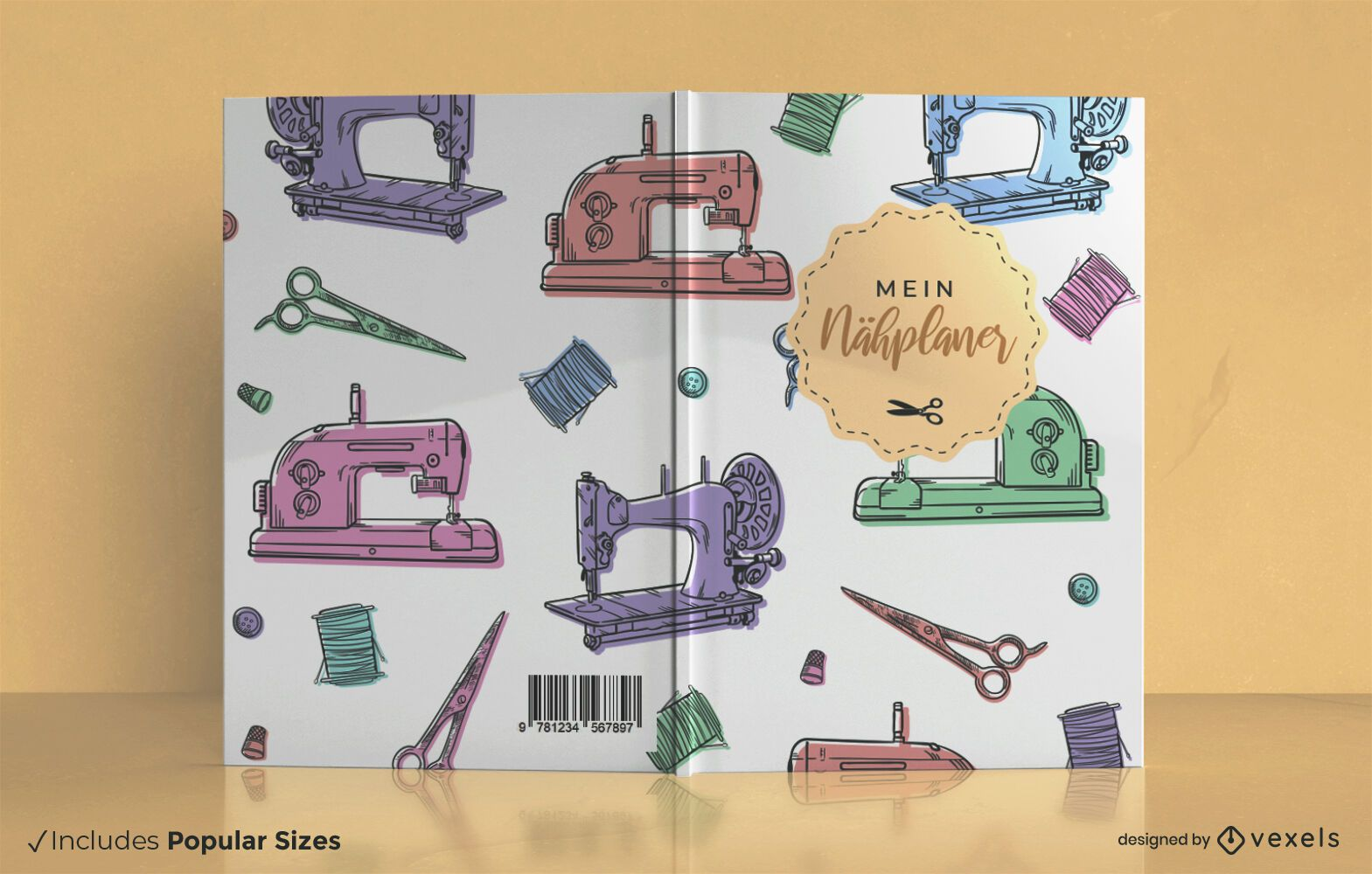 Sewing planner german book cover design
