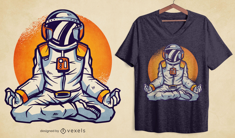 Diseño de camiseta de astronauta meditando.