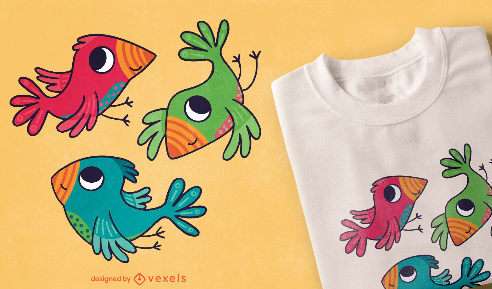 Desenho de camisetas coloridas de pássaros