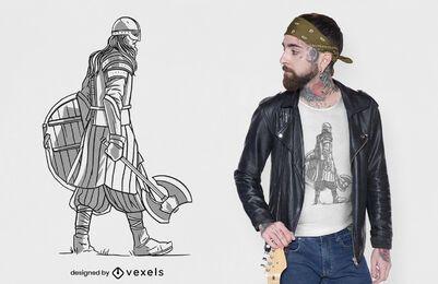 Diseño de camiseta vikinga caminando.