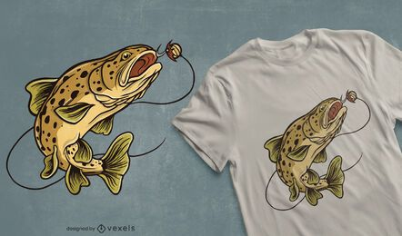 Brown trout fish t-shirt design