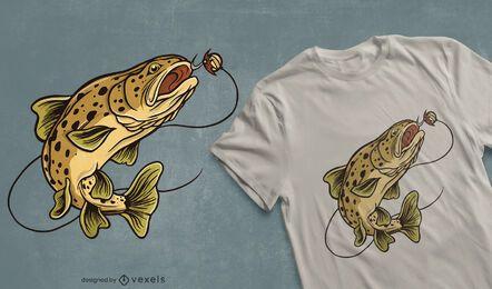 Diseño de camiseta de pez trucha marrón.