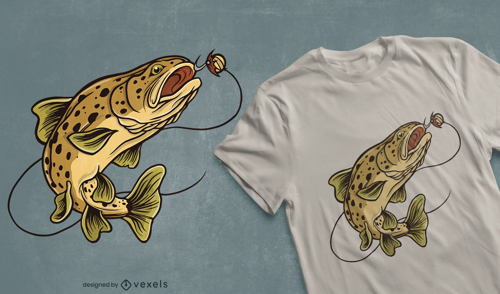 Design de t-shirt de peixe truta castanha