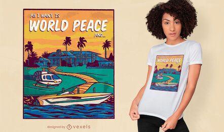 Diseño de camiseta de paz mundial y dinero.