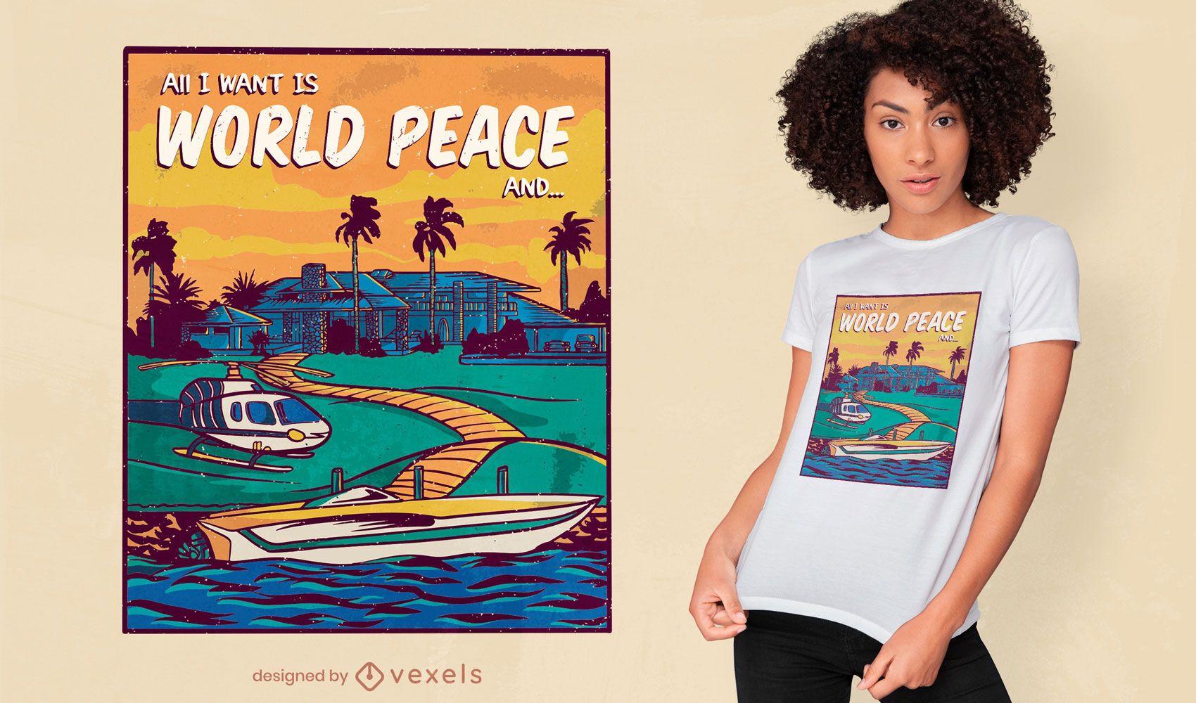 World peace and money t-shirt design