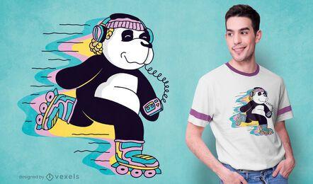 Diseño de camiseta de panda de patinaje sobre ruedas.