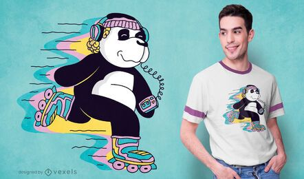 Roller skating panda t-shirt design