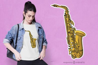 Diseño de camiseta de instrumento de saxofón.