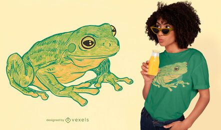 Diseño de camiseta rana dibujada a mano