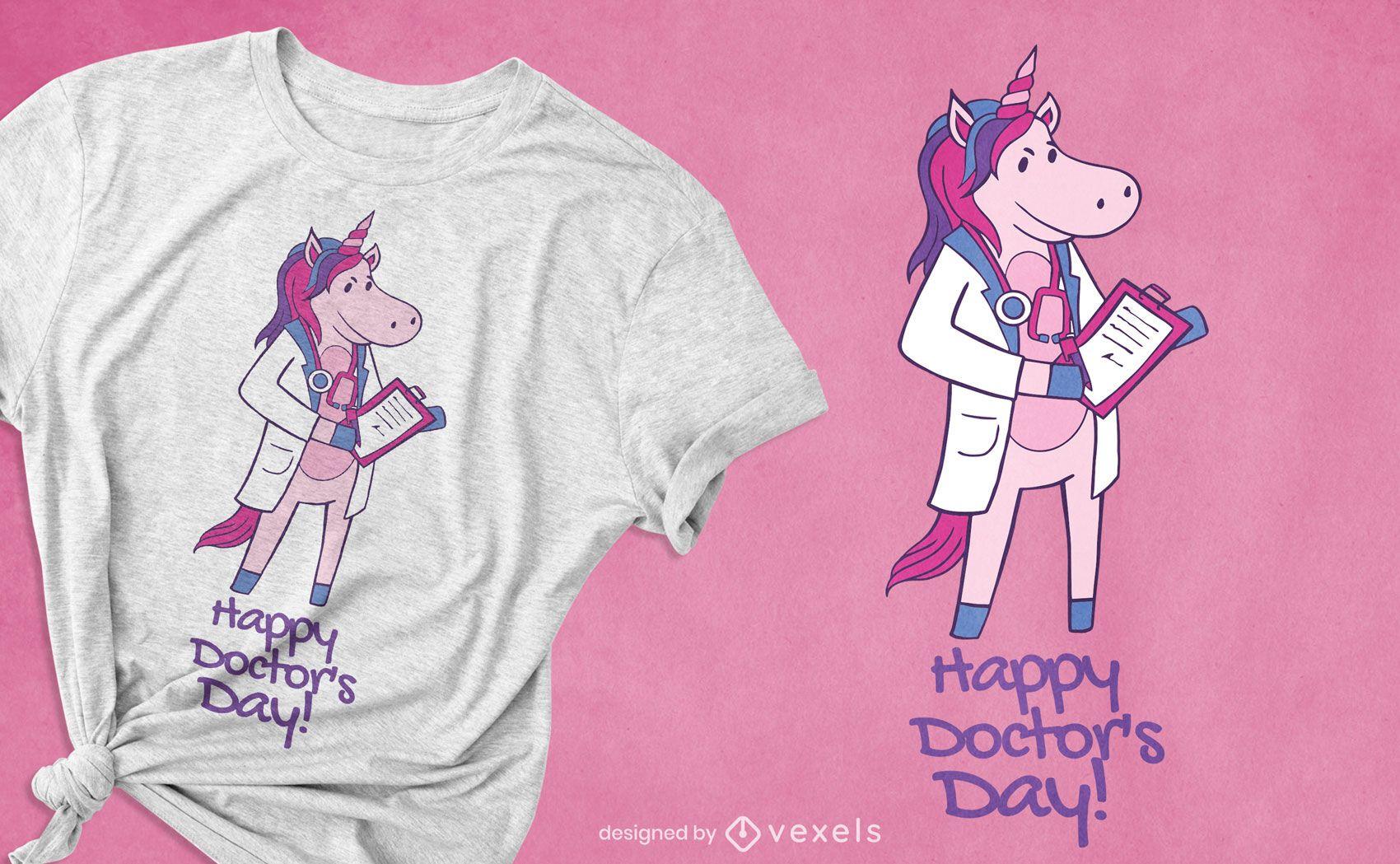 Diseño de camiseta de doctor unicornio