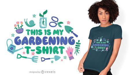 Diseño de camiseta de herramientas de jardinería.