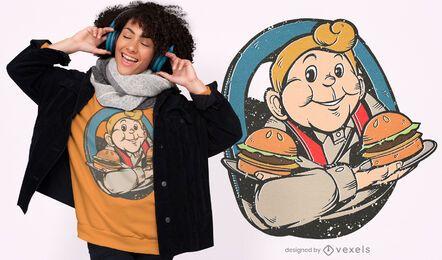 Diseño de camiseta vintage burger man