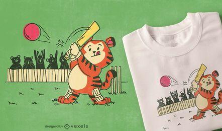 Diseño de camiseta de cricket tigre