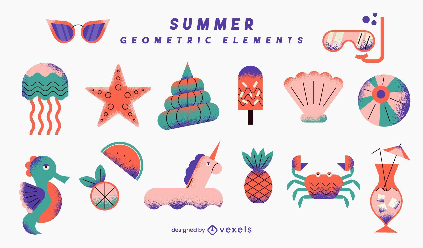 Conjunto de elementos geométricos de verão