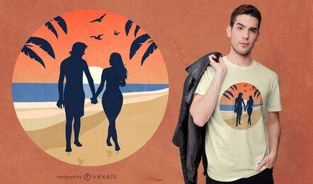 Design de t-shirt de casal de praia