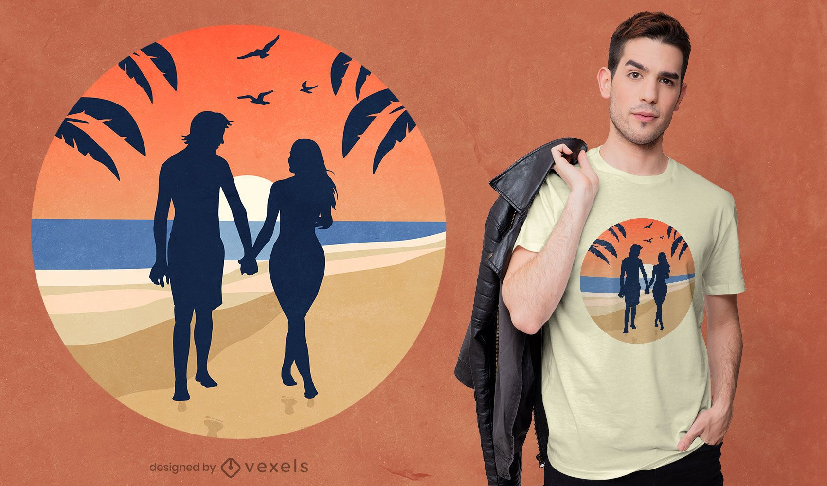 Diseño de camiseta de pareja de playa.