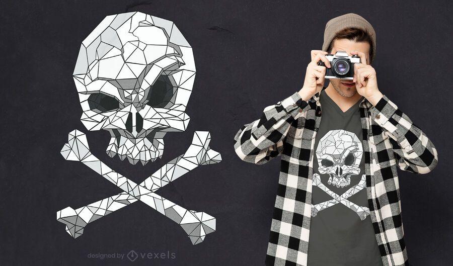 Polygonal skull t-shirt design