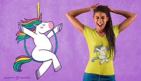 Diseño de camiseta de unicornio de aro aéreo.