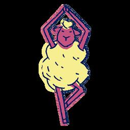 Trazo de color de oveja de yoga