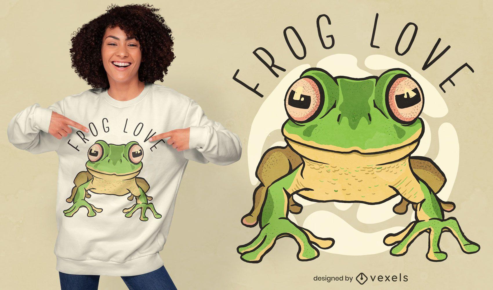 Diseño de camiseta Love Frogs
