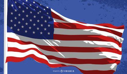 Waving USA Flag Vector