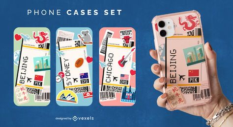 Travel cities phone case set