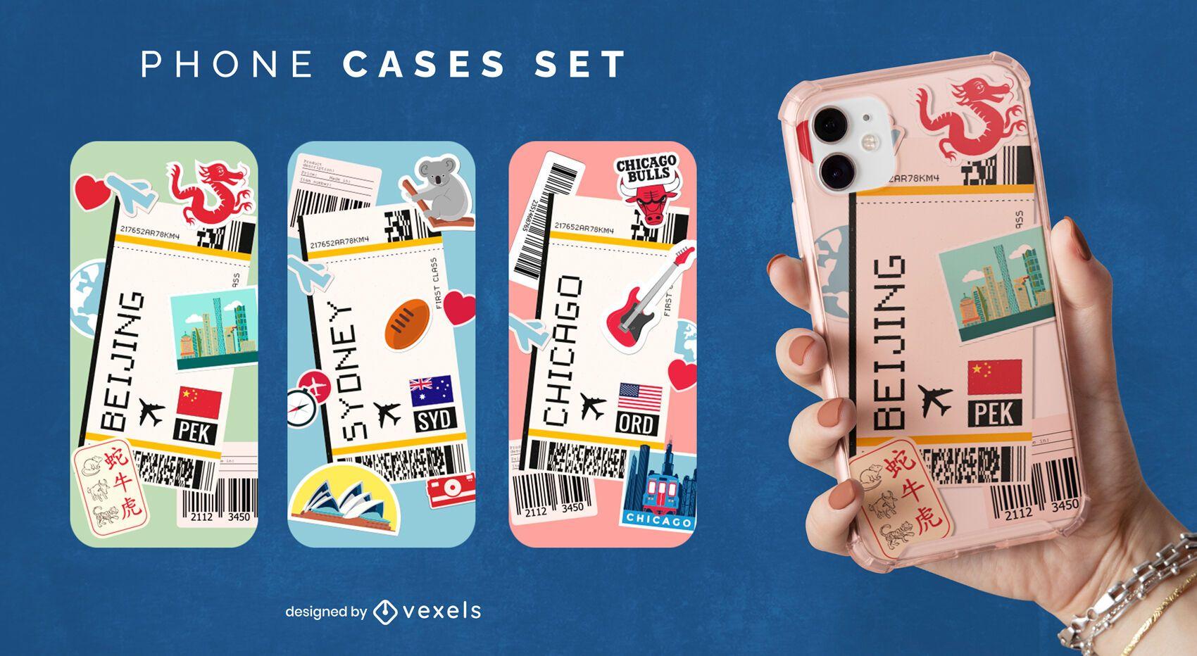 Conjunto de capa de telefone para cidades de viagens