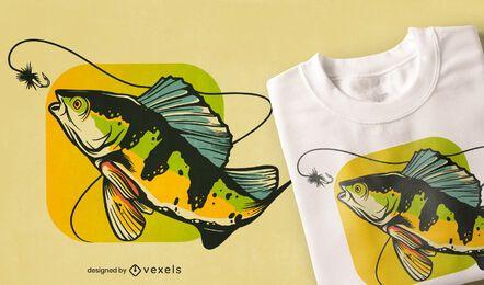 Design de camiseta de pesca no poleiro