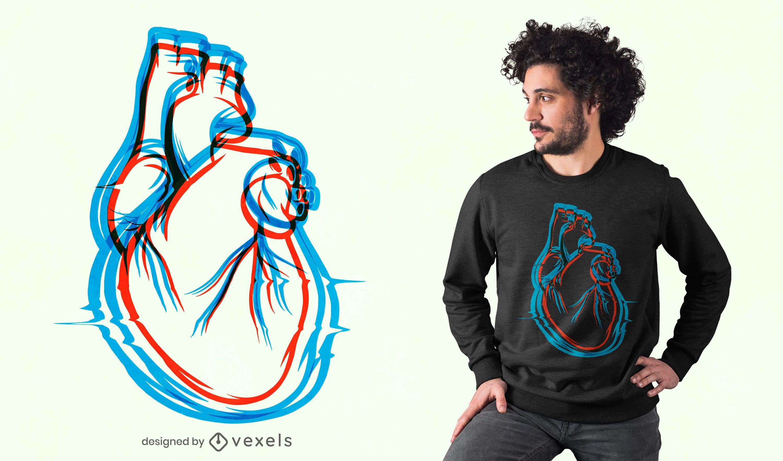 Diseño de camiseta Heartbeats 3D