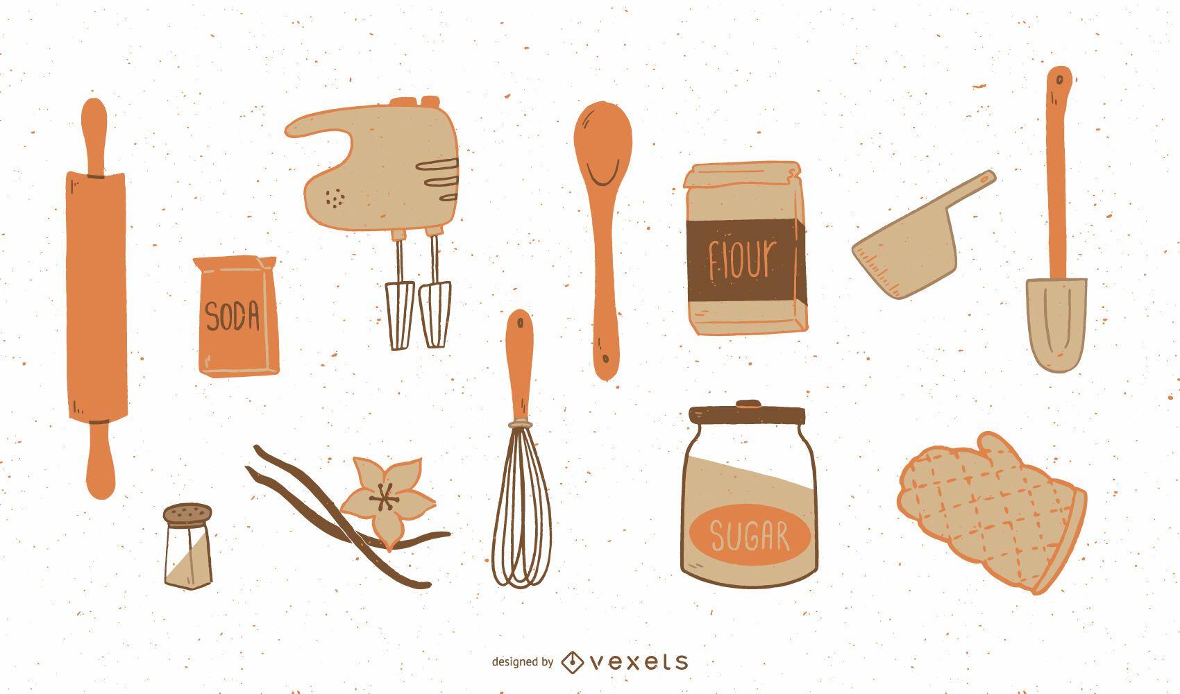 Baking elements flat set