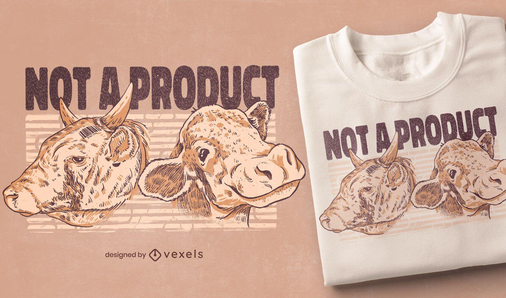 Diseño de camiseta de vacas no producto.