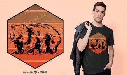 Diseño de camiseta retro wombat