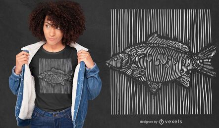 Diseño de camiseta de pez carpa de líneas 3D.